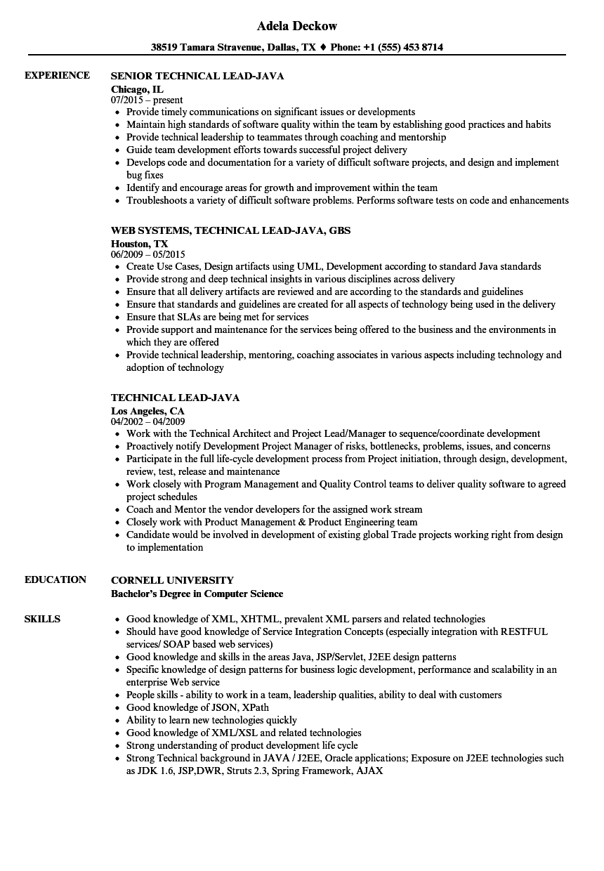 Technical Lead-java Resume Samples | Velvet Jobs