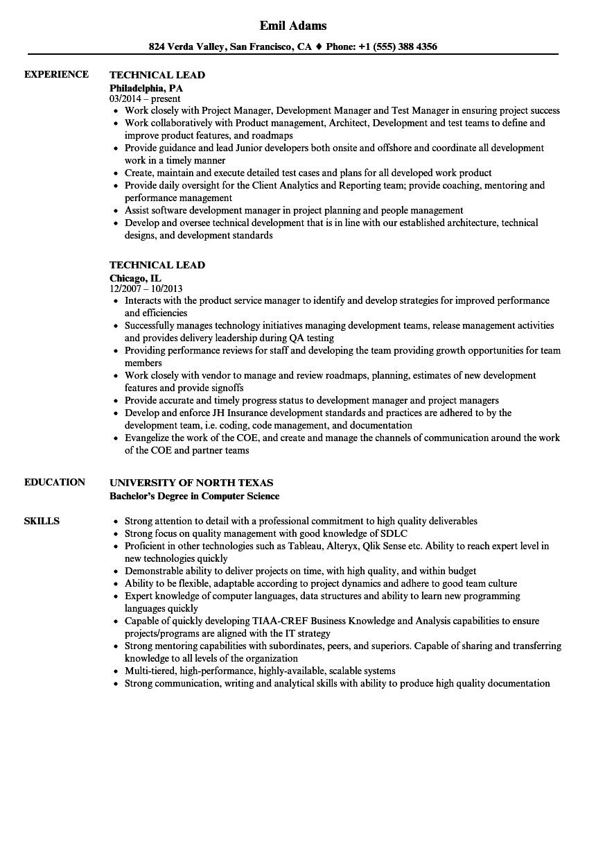 Technical Lead Resume Samples | Velvet Jobs