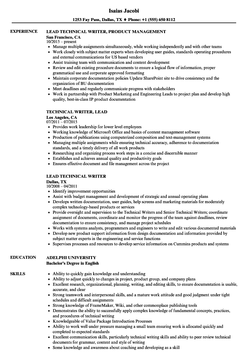 Technical Lead-technical Writer Resume Samples | Velvet Jobs