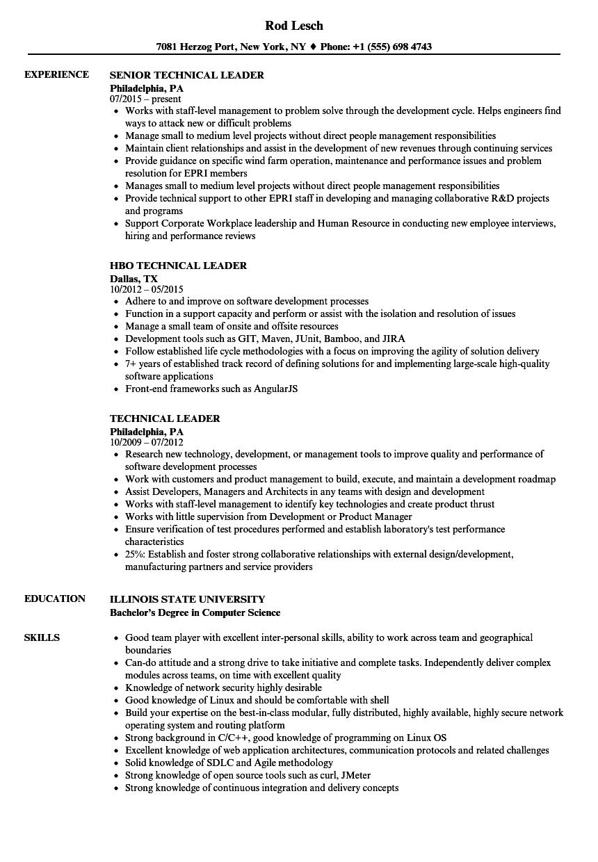 Technical Leader Resume Samples | Velvet Jobs