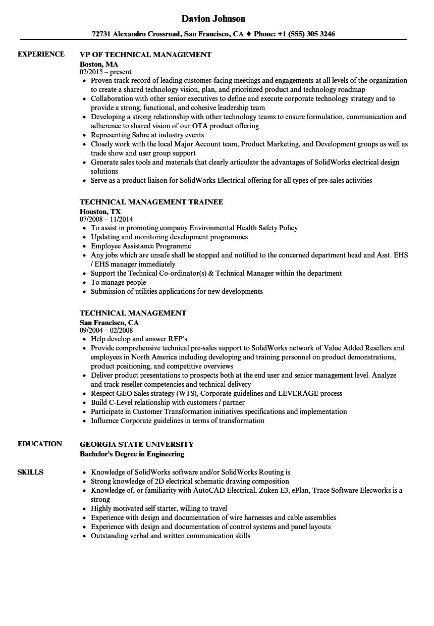 technical management resume samples velvet jobs