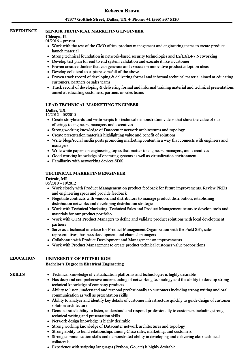 technical marketing engineer resume samples
