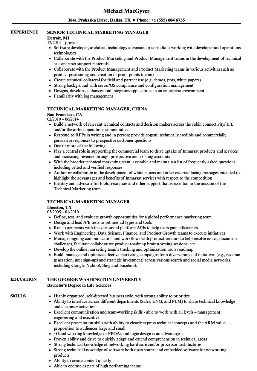 Technical Marketing Manager Resume Samples Velvet Jobs