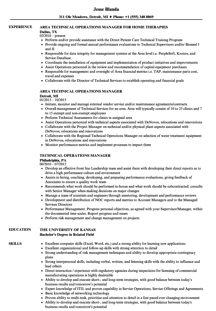 technical operations manager resume samples