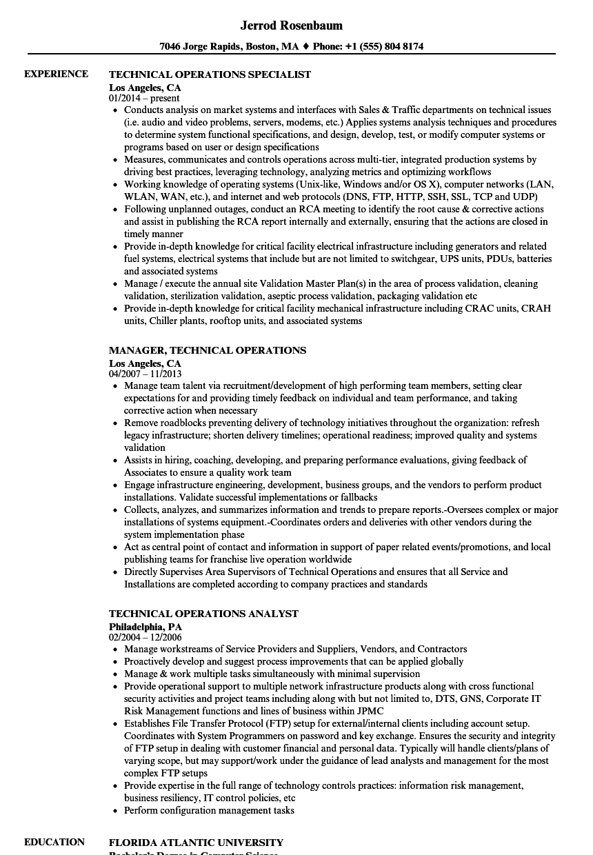 technical operations resume samples