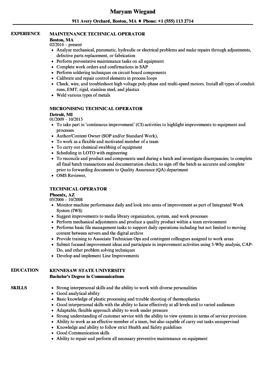 Technical Operator Resume Samples Velvet Jobs
