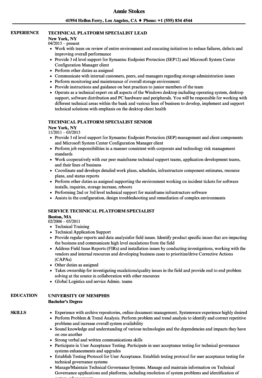 Related Job Titles. Technical Specialist Resume Sample