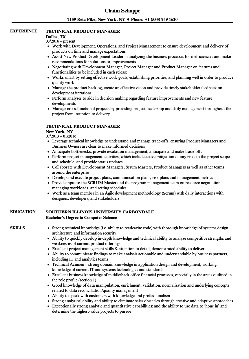 technical product manager resume samples