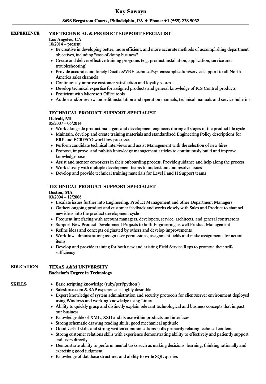 product support specialist sample resume mechanical draftsman cover letter qa resume objective