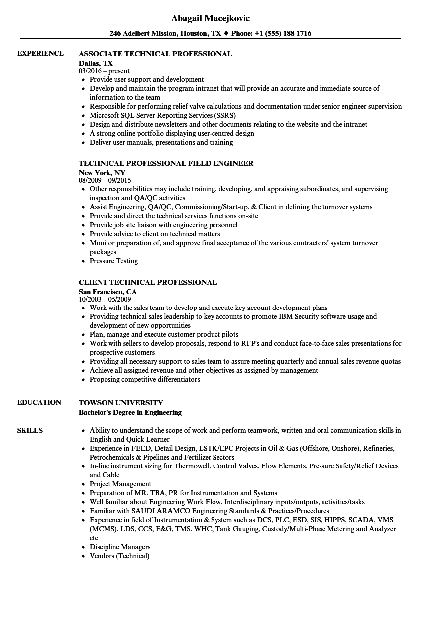 technical professional resume samples