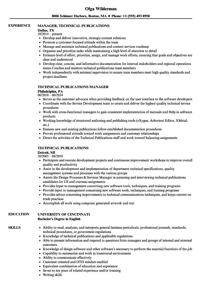 Technical Publications Resume Samples | Velvet Jobs