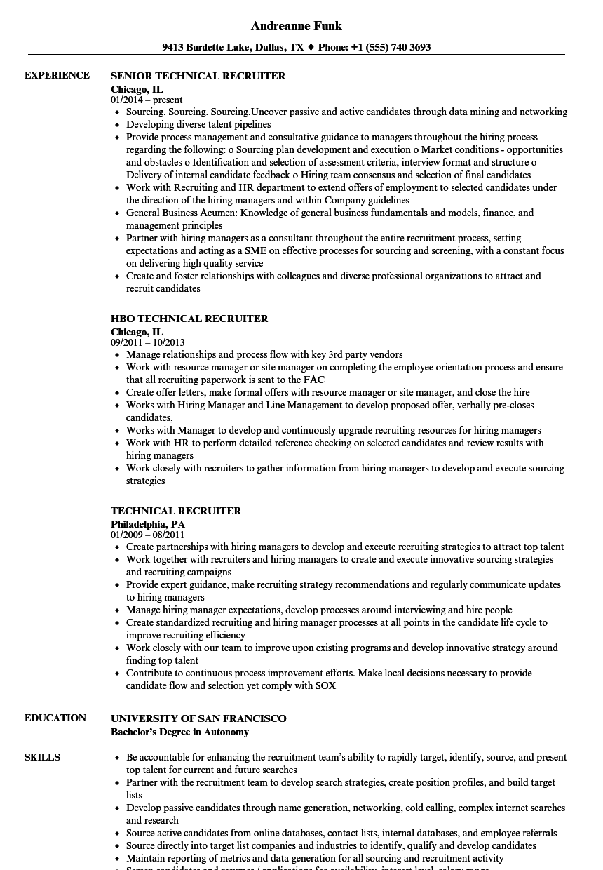 Technical Recruiter Resume Samples | Velvet Jobs