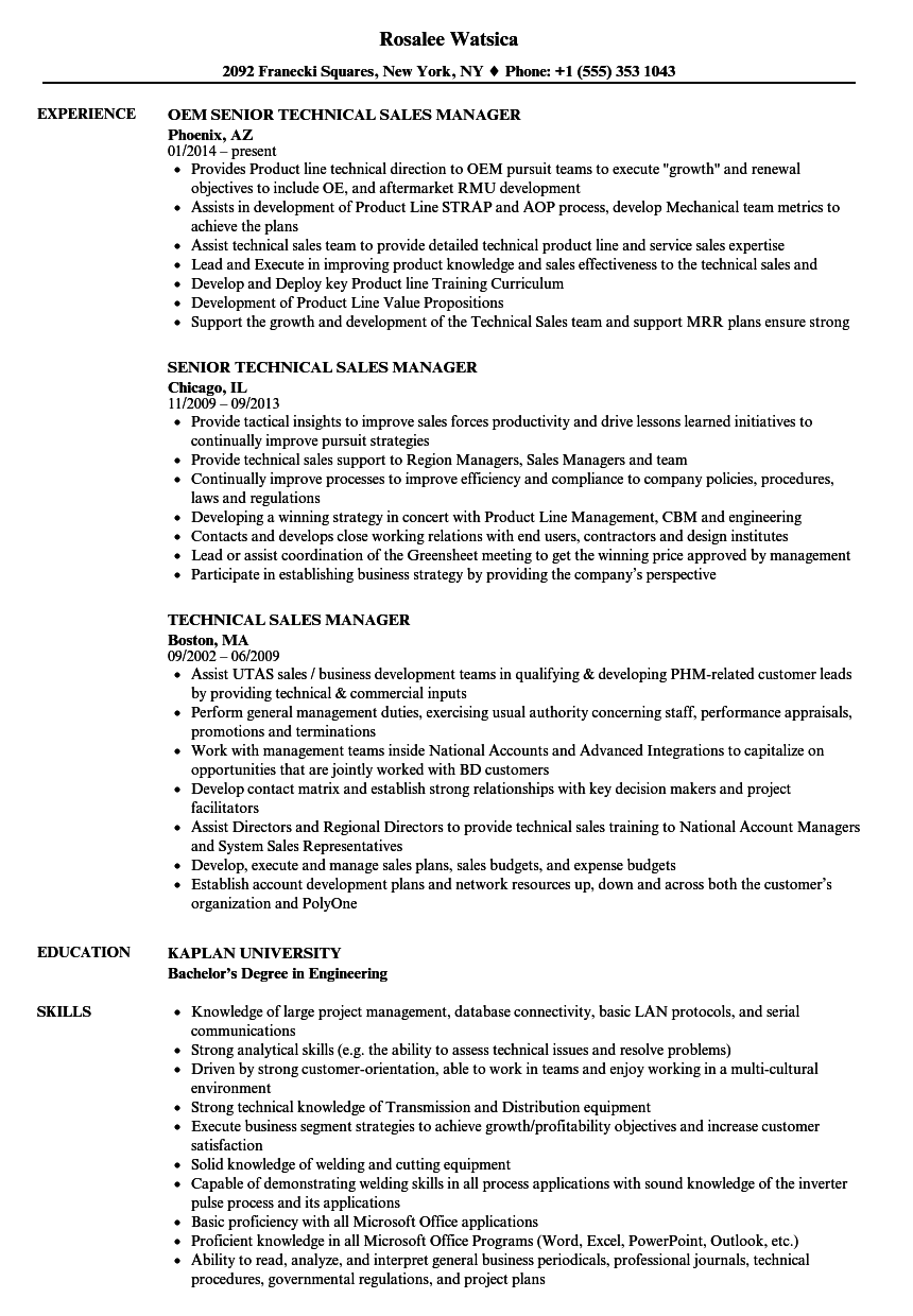 technical sales manager resume samples