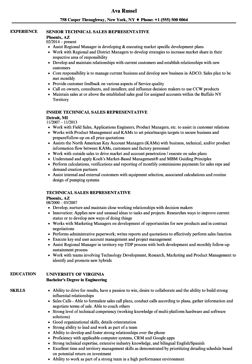 Download Technical Sales Representative Resume Sample As Image File