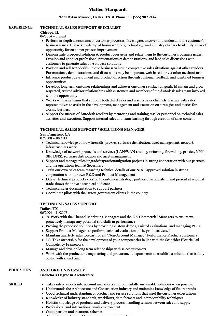 Download Technical Sales Support Resume Sample as Image file