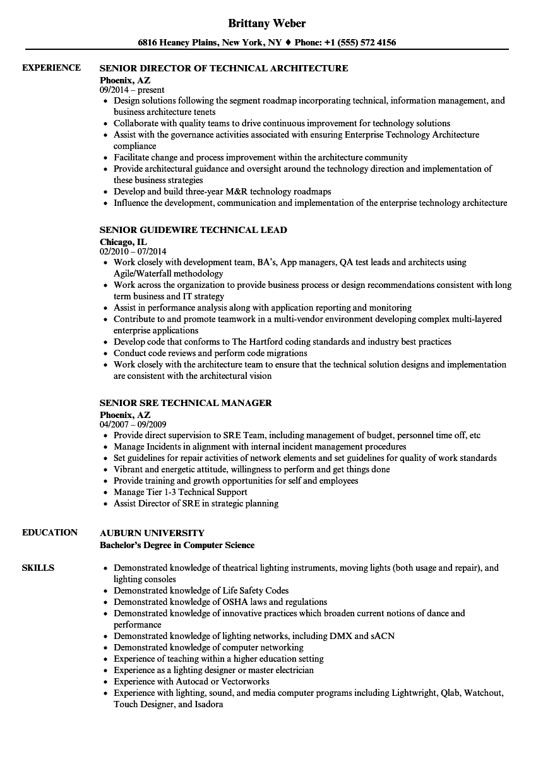 Technical Senior Resume Samples Velvet Jobs