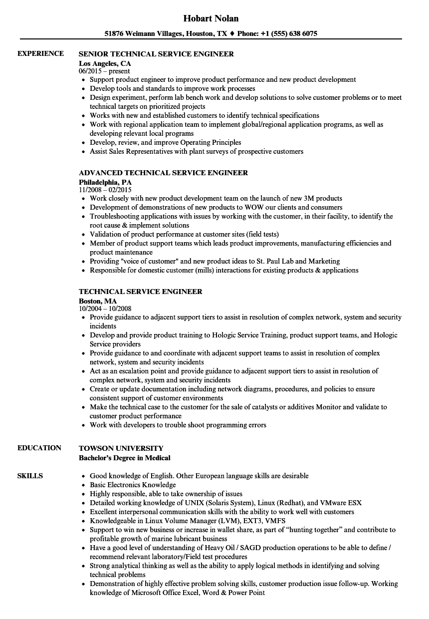 Technical Service Engineer Resume Samples | Velvet Jobs
