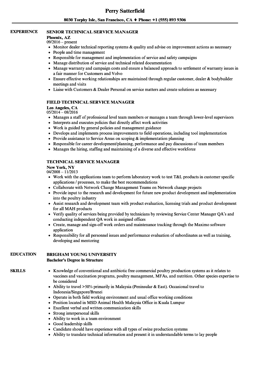 Technical Service Manager Resume Samples Velvet Jobs