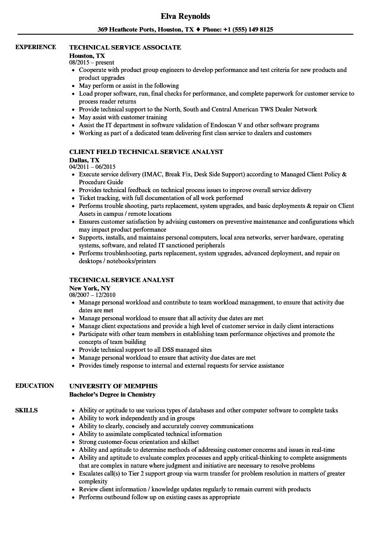 Technical Service Resume Samples Velvet Jobs