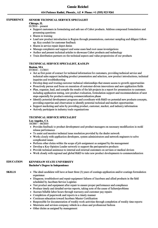 Technical Service Specialist Resume Samples | Velvet Jobs