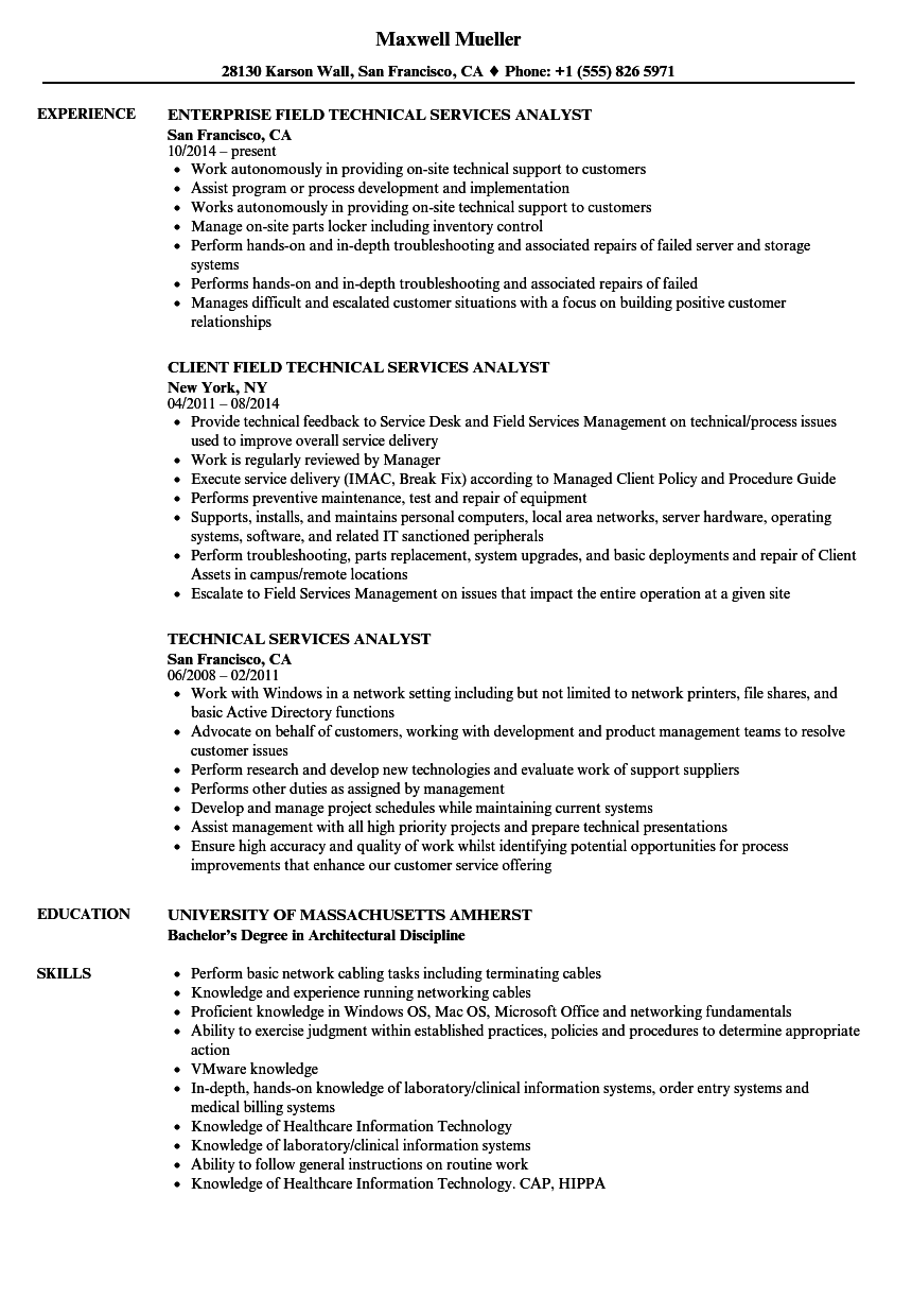Technical Services Analyst Resume Samples | Velvet Jobs