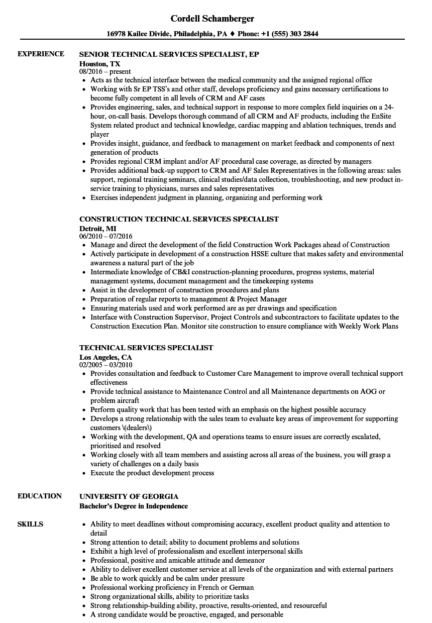 Technical Services Specialist Resume Samples | Velvet Jobs