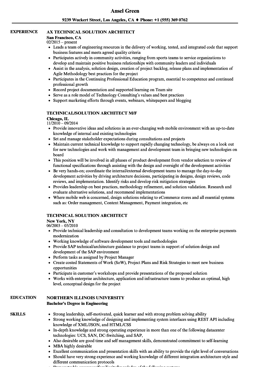 Download Technical Solution Architect Resume Sample As Image File  Technical Architect Resume