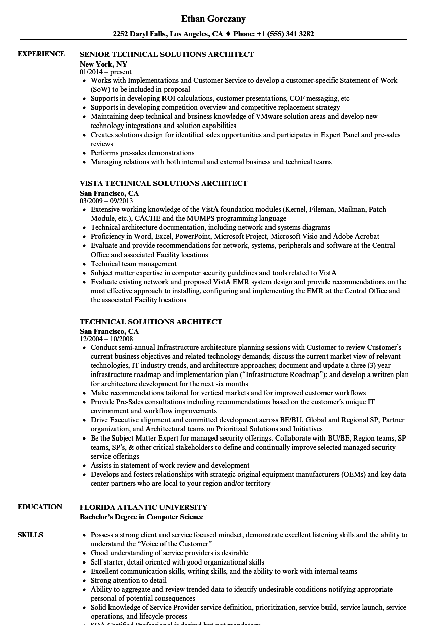 Technical Solutions Architect Resume Samples | Velvet Jobs