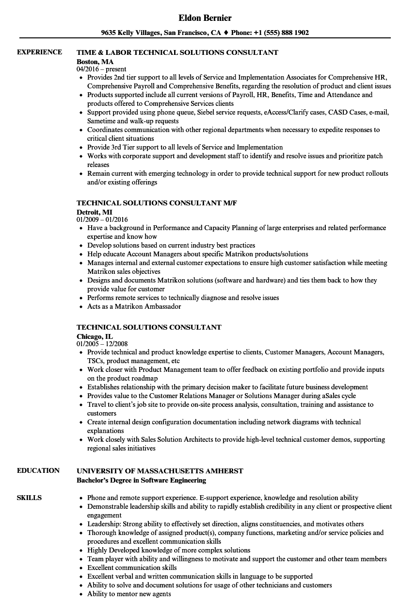 Attractive Download Technical Solutions Consultant Resume Sample As Image File