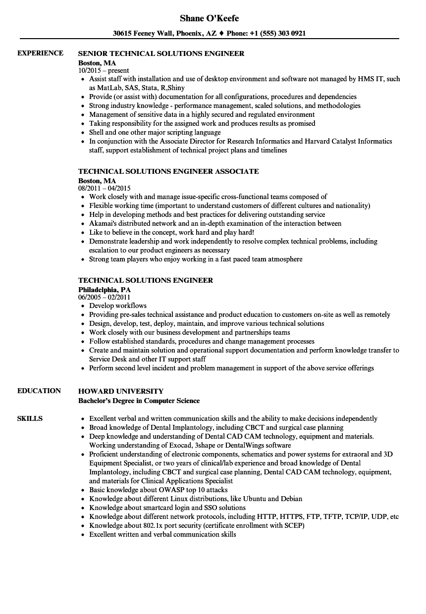 technical solutions engineer resume samples