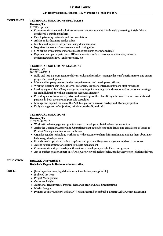 Technical Solutions Resume Samples | Velvet Jobs