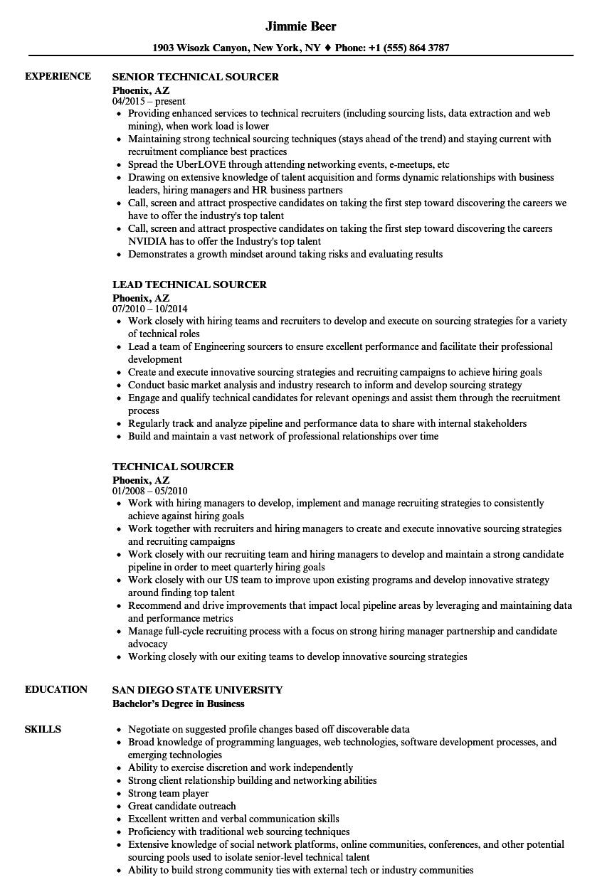Technical Sourcer Resume Samples Velvet Jobs