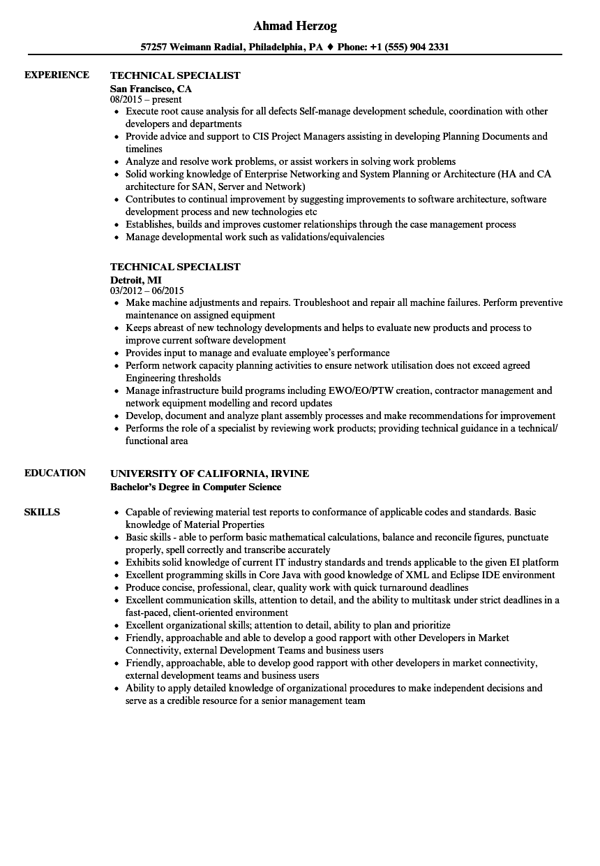 technical specialist resume samples