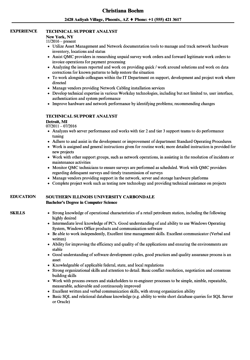 technical support analyst resume samples