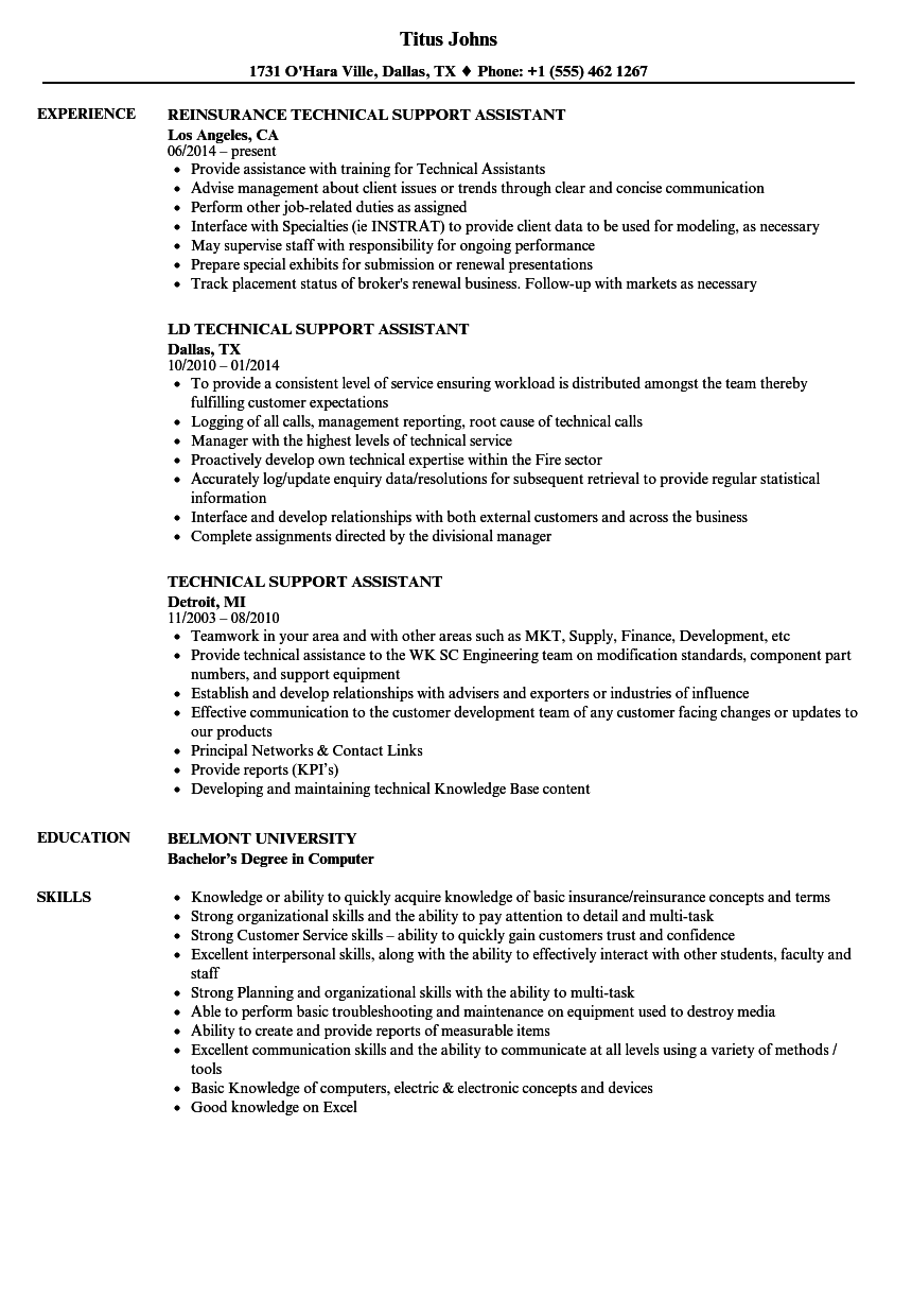 Technical Support Assistant Resume Samples Velvet Jobs