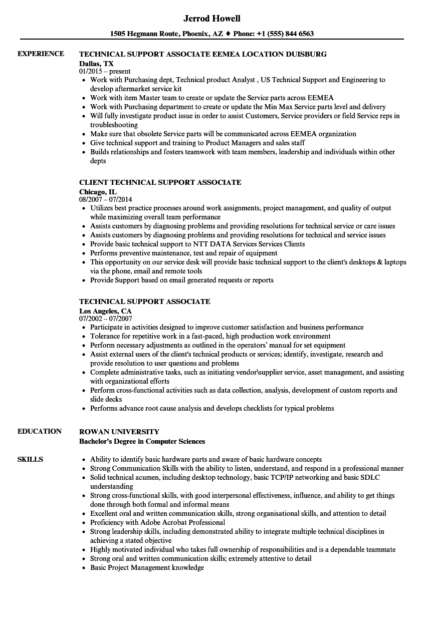 Technical Support Associate Resume Samples | Velvet Jobs