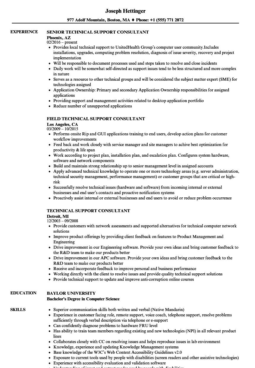 technical support consultant resume samples