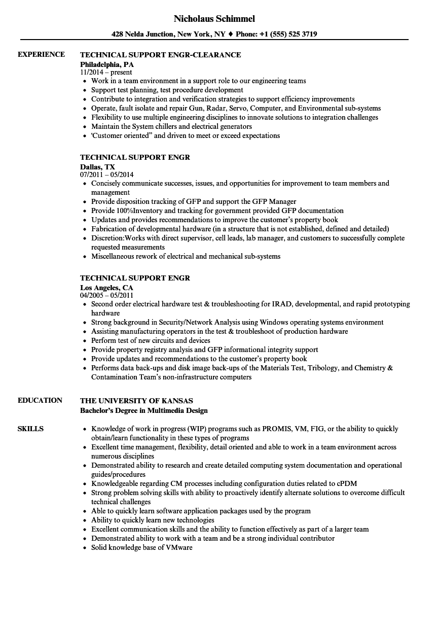 technical support engr resume samples