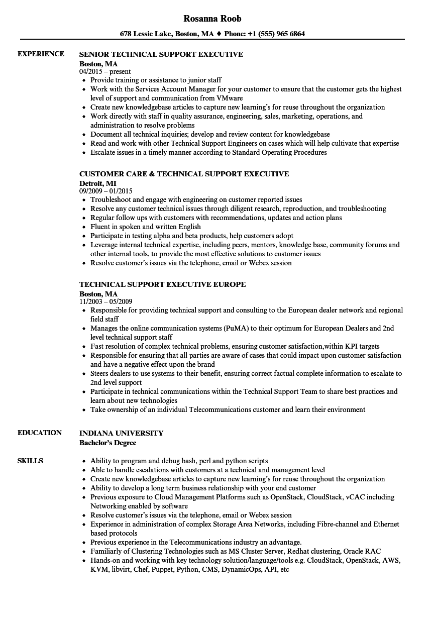 download technical support executive resume sample as image file
