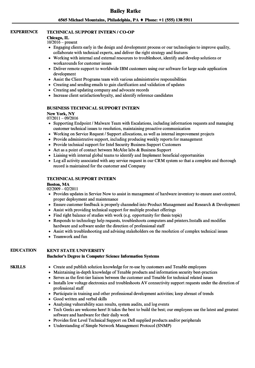 technical support intern resume samples velvet jobs