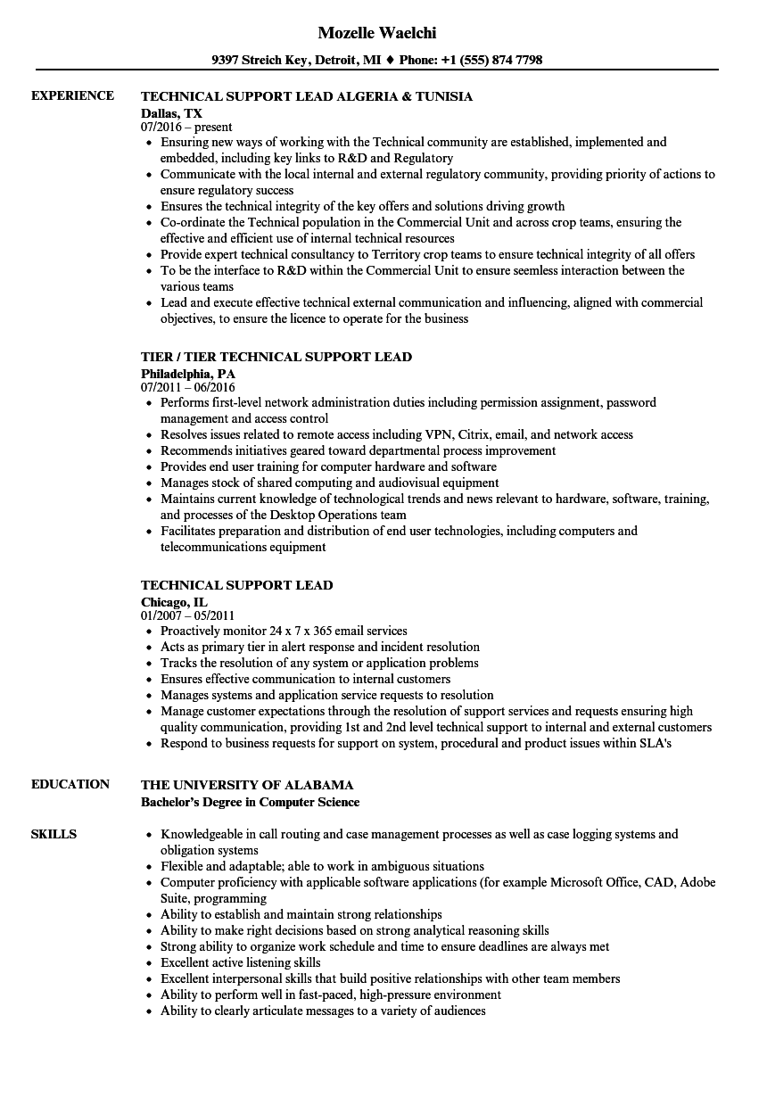 technical support lead resume samples
