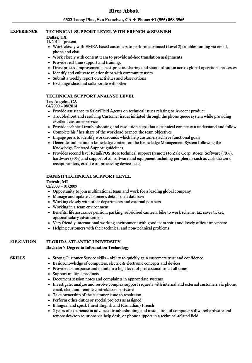 technical support level resume samples