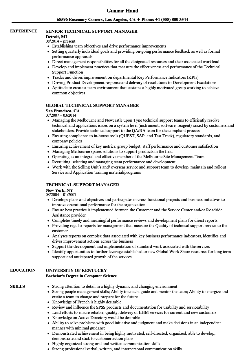 technical support manager resume samples