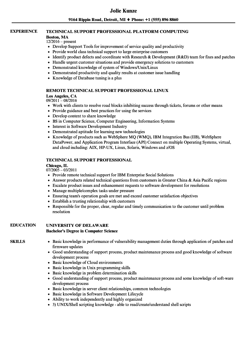 Technical Support Professional Resume Samples | Velvet Jobs