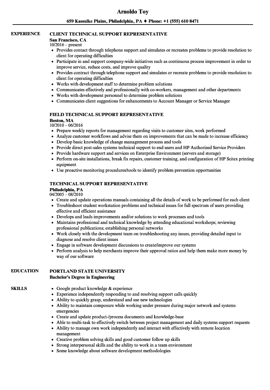 Technical Support Representative Resume Samples | Velvet Jobs