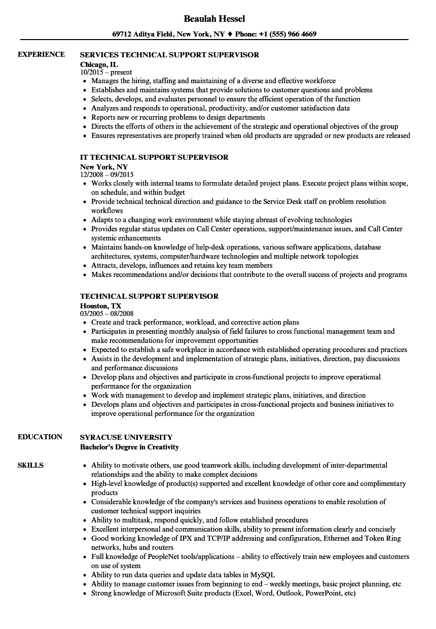 Download Technical Support Supervisor Resume Sample As Image File