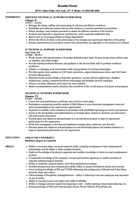 Technical Support Supervisor Resume Samples Velvet Jobs