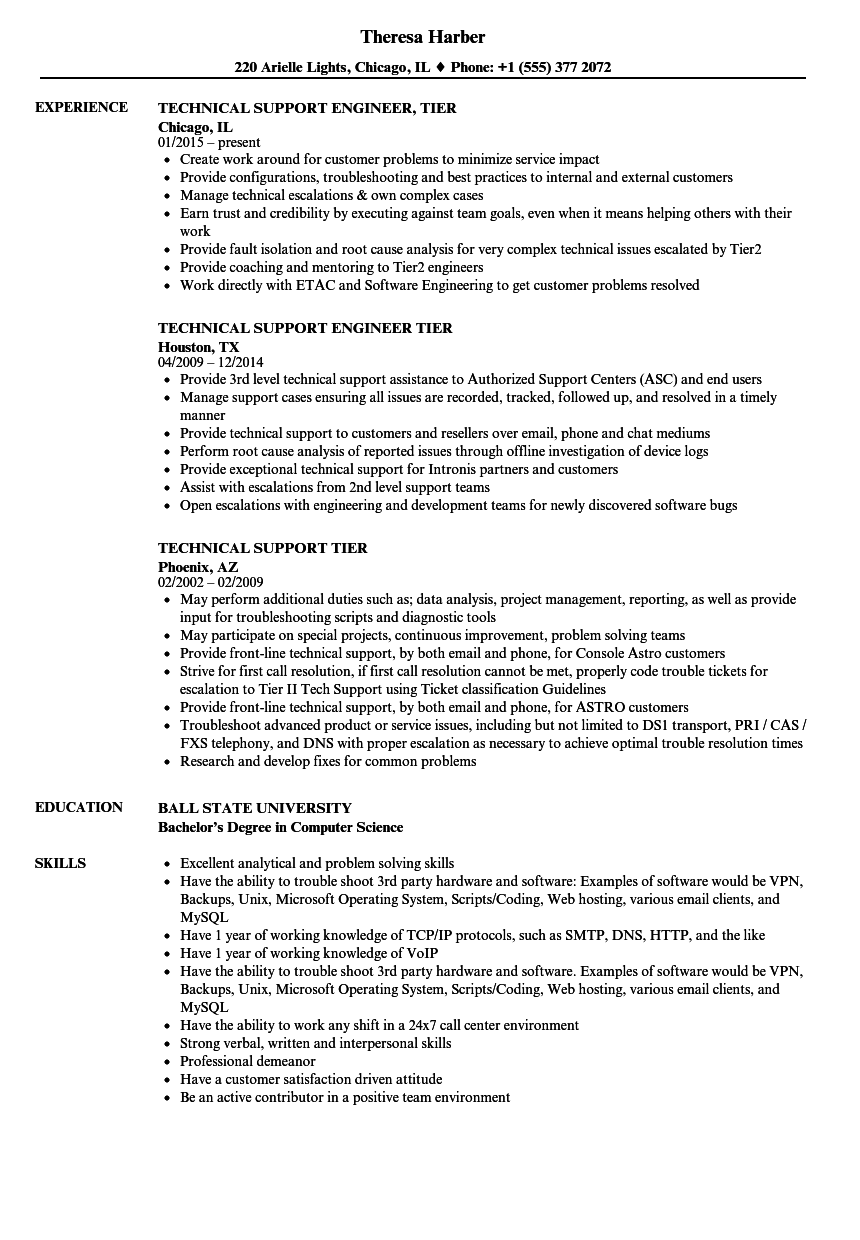 technical support tier resume samples