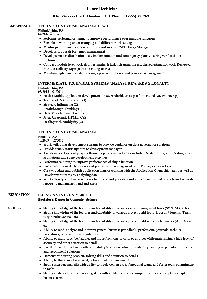 Technical Systems Analyst Resume Samples | Velvet Jobs