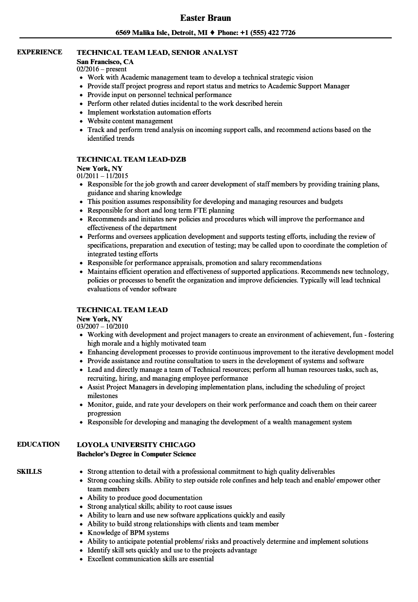 Technical Team Lead Resume Samples | Velvet Jobs